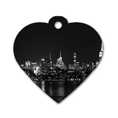 New York Skyline Dog Tag Heart (one Side)