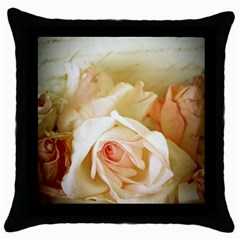 Roses Vintage Playful Romantic Throw Pillow Case (black) by Celenk