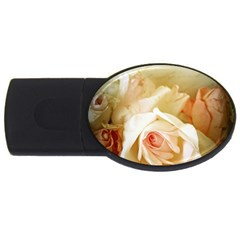 Roses Vintage Playful Romantic Usb Flash Drive Oval (2 Gb) by Celenk