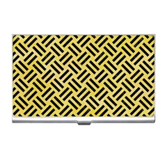Woven2 Black Marble & Yellow Watercolor Business Card Holders by trendistuff