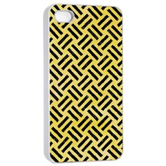 Woven2 Black Marble & Yellow Watercolor Apple Iphone 4/4s Seamless Case (white) by trendistuff
