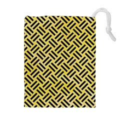 Woven2 Black Marble & Yellow Watercolor Drawstring Pouches (extra Large) by trendistuff
