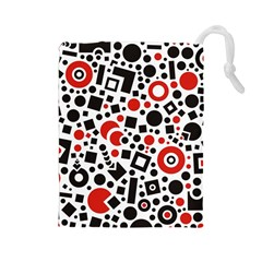 Square Objects Future Modern Drawstring Pouches (large)