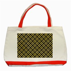 Woven2 Black Marble & Yellow Watercolor (r) Classic Tote Bag (red) by trendistuff