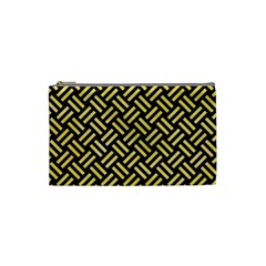 Woven2 Black Marble & Yellow Watercolor (r) Cosmetic Bag (small)  by trendistuff