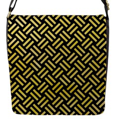 Woven2 Black Marble & Yellow Watercolor (r) Flap Messenger Bag (s) by trendistuff