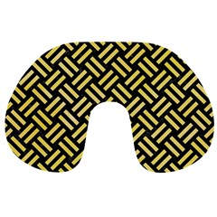 Woven2 Black Marble & Yellow Watercolor (r) Travel Neck Pillows by trendistuff
