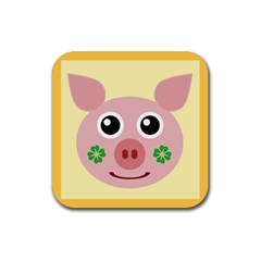 Luck Lucky Pig Pig Lucky Charm Rubber Square Coaster (4 Pack)  by Celenk