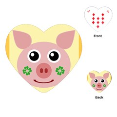 Luck Lucky Pig Pig Lucky Charm Playing Cards (heart)  by Celenk