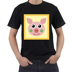 Luck Lucky Pig Pig Lucky Charm Men s T Shirt (black) by Celenk
