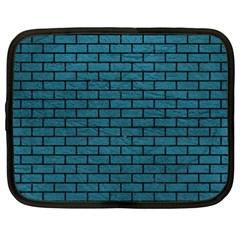 Brick1 Black Marble & Teal Leather Netbook Case (xxl)  by trendistuff