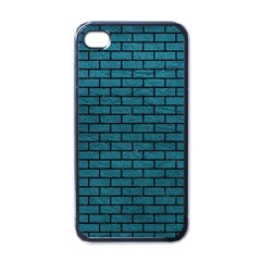 Brick1 Black Marble & Teal Leather Apple Iphone 4 Case (black) by trendistuff