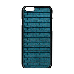 Brick1 Black Marble & Teal Leather Apple Iphone 6/6s Black Enamel Case by trendistuff