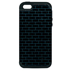 Brick1 Black Marble & Teal Leather (r) Apple Iphone 5 Hardshell Case (pc+silicone) by trendistuff