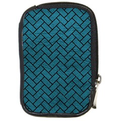 Brick2 Black Marble & Teal Leather Compact Camera Cases by trendistuff