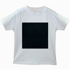 Brick2 Black Marble & Teal Leather (r) Kids White T Shirts by trendistuff