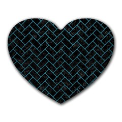 Brick2 Black Marble & Teal Leather (r) Heart Mousepads by trendistuff