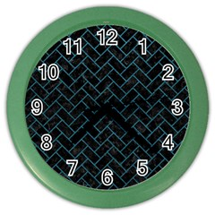 Brick2 Black Marble & Teal Leather (r) Color Wall Clocks by trendistuff
