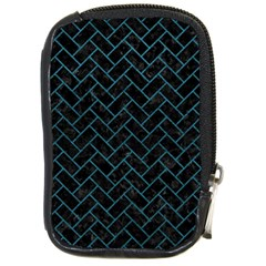 Brick2 Black Marble & Teal Leather (r) Compact Camera Cases by trendistuff