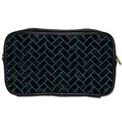 Brick2 Black Marble & Teal Leather (r) Toiletries Bags by trendistuff