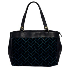 Brick2 Black Marble & Teal Leather (r) Office Handbags by trendistuff