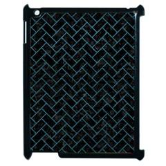 Brick2 Black Marble & Teal Leather (r) Apple Ipad 2 Case (black) by trendistuff