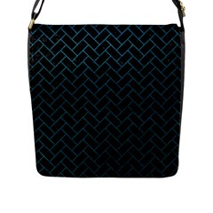 Brick2 Black Marble & Teal Leather (r) Flap Messenger Bag (l)  by trendistuff