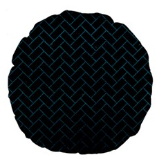 Brick2 Black Marble & Teal Leather (r) Large 18  Premium Flano Round Cushions by trendistuff