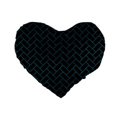 Brick2 Black Marble & Teal Leather (r) Standard 16  Premium Flano Heart Shape Cushions by trendistuff