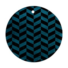 Chevron1 Black Marble & Teal Leather Ornament (round) by trendistuff