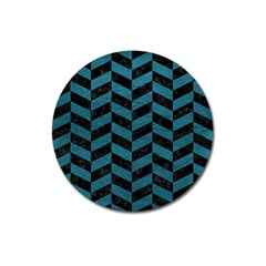 Chevron1 Black Marble & Teal Leather Magnet 3  (round) by trendistuff