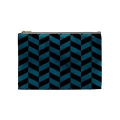 Chevron1 Black Marble & Teal Leather Cosmetic Bag (medium)  by trendistuff