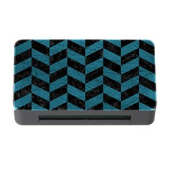 Chevron1 Black Marble & Teal Leather Memory Card Reader With Cf by trendistuff