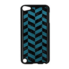 Chevron1 Black Marble & Teal Leather Apple Ipod Touch 5 Case (black) by trendistuff