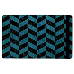Chevron1 Black Marble & Teal Leather Apple Ipad Pro 12 9   Flip Case by trendistuff