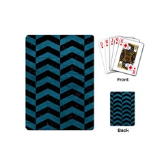 Chevron2 Black Marble & Teal Leather Playing Cards (mini)  by trendistuff