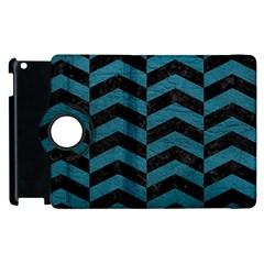 Chevron2 Black Marble & Teal Leather Apple Ipad 2 Flip 360 Case by trendistuff