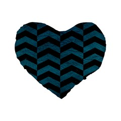 Chevron2 Black Marble & Teal Leather Standard 16  Premium Flano Heart Shape Cushions by trendistuff