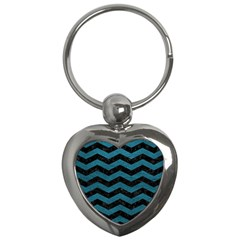 Chevron3 Black Marble & Teal Leather Key Chains (heart)  by trendistuff