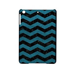 Chevron3 Black Marble & Teal Leather Ipad Mini 2 Hardshell Cases