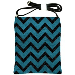 Chevron9 Black Marble & Teal Leather Shoulder Sling Bags by trendistuff