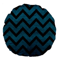 Chevron9 Black Marble & Teal Leather Large 18  Premium Flano Round Cushions by trendistuff