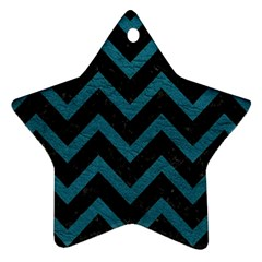 Chevron9 Black Marble & Teal Leather (r) Star Ornament (two Sides) by trendistuff