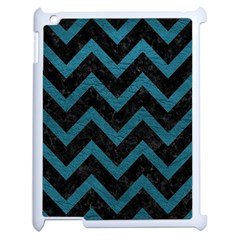Chevron9 Black Marble & Teal Leather (r) Apple Ipad 2 Case (white) by trendistuff