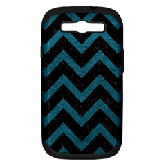 Chevron9 Black Marble & Teal Leather (r) Samsung Galaxy S Iii Hardshell Case (pc+silicone) by trendistuff