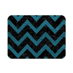 Chevron9 Black Marble & Teal Leather (r) Double Sided Flano Blanket (mini)  by trendistuff