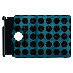 Circles1 Black Marble & Teal Leather Apple Ipad 3/4 Flip 360 Case by trendistuff