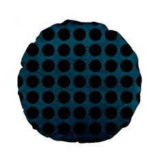 Circles1 Black Marble & Teal Leather Standard 15  Premium Flano Round Cushions by trendistuff