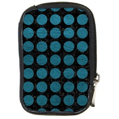 Circles1 Black Marble & Teal Leather (r) Compact Camera Cases by trendistuff