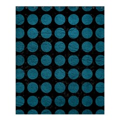 Circles1 Black Marble & Teal Leather (r) Shower Curtain 60  X 72  (medium)  by trendistuff